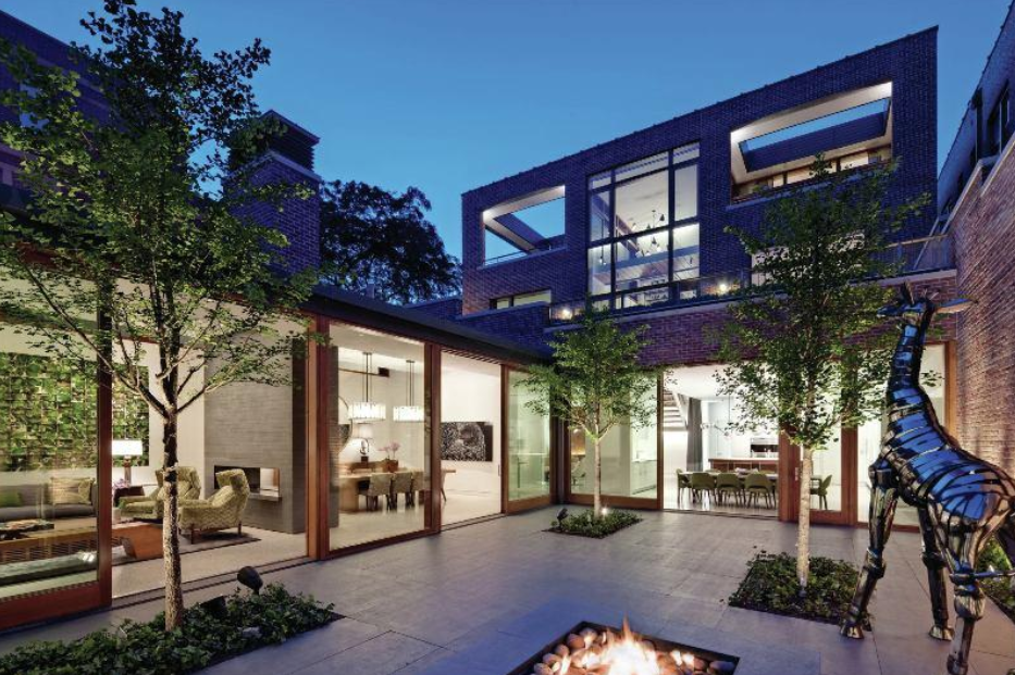 Modern home with courtyard