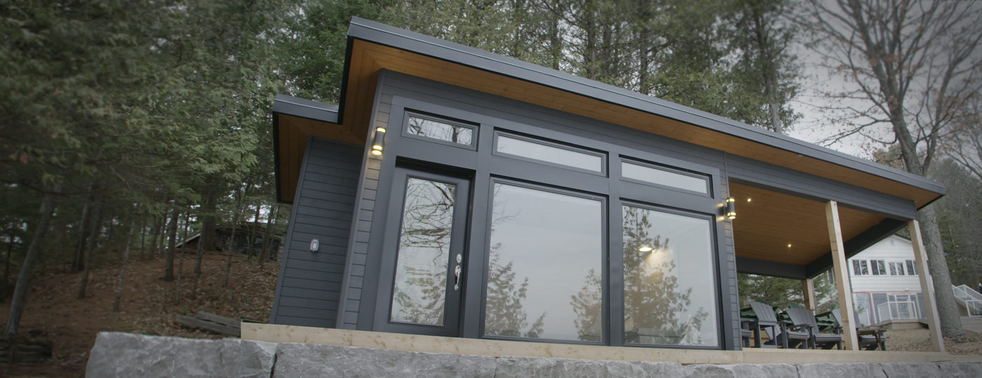 Front view of custom bunkie built in Kawartha