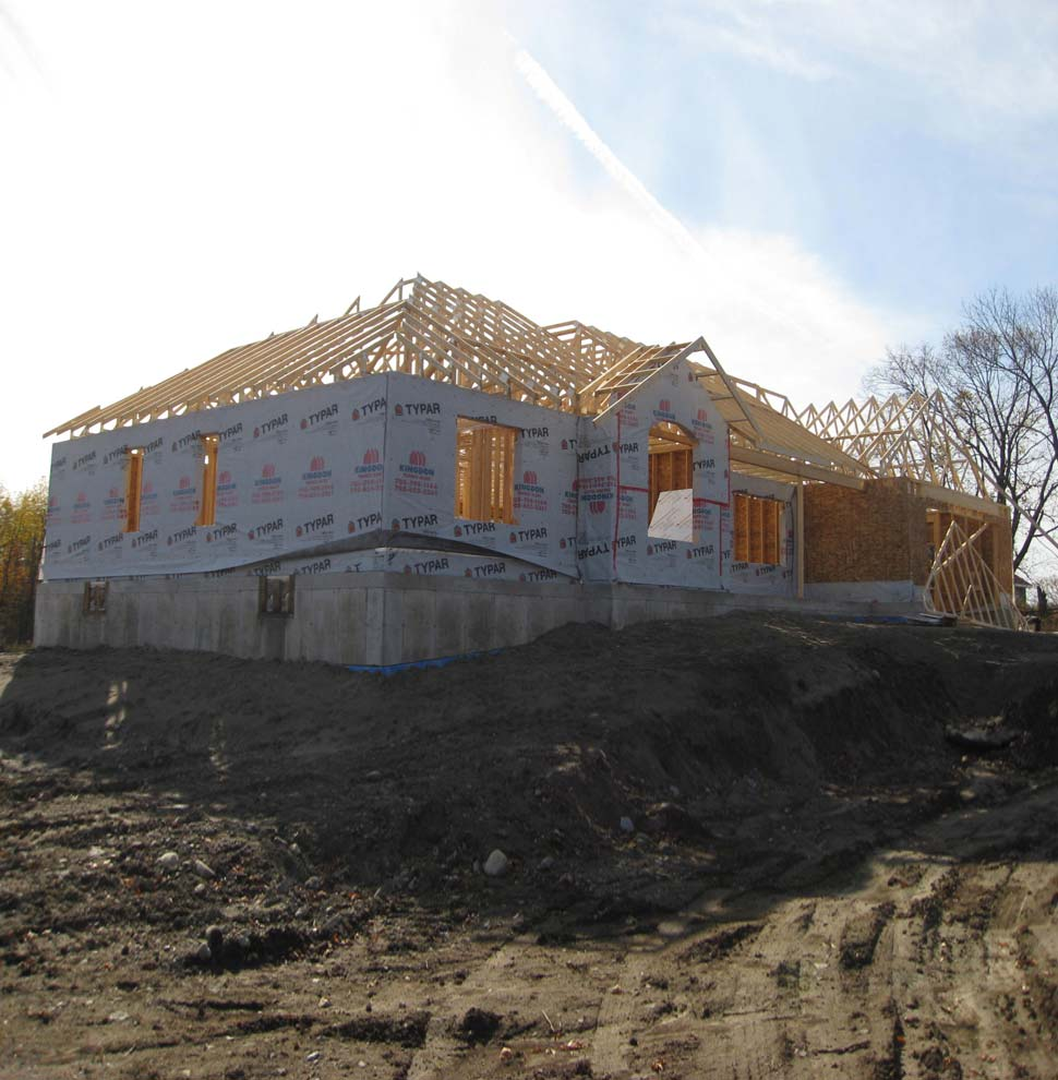 Custom Selwyn home before masonry