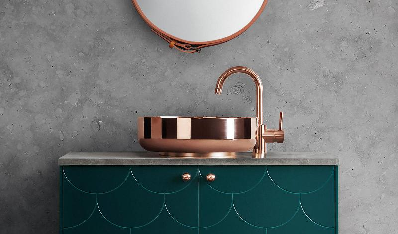 gold and copper accents